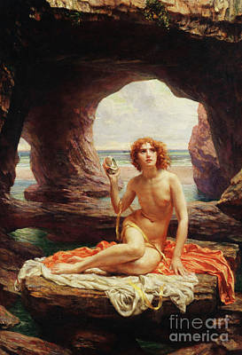 Woman Cave Painting - At Low Tide by Sir Edward John Poynter