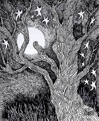 Drawing - At Night Beside The Twisted Tree by Yvonne Blasy