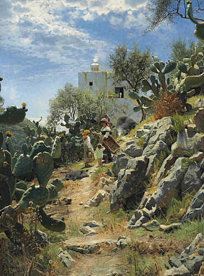 Painting - At Noon On A Cactus Plantation In Capri by Peder Monsted