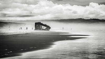 Graveyard Digital Art - At Peter Iredale Shipwreck Black And White by Eduard Moldoveanu