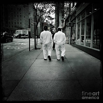 Photograph - At Random In Tandem - Two Men On A Street by Miriam Danar