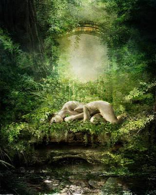 Fantasy Digital Art - At Sleep by Karen Koski