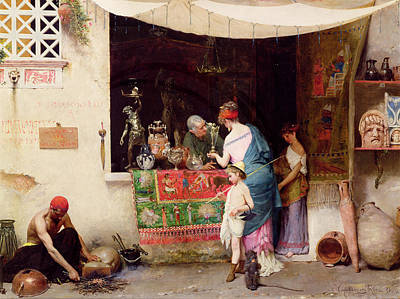 Stalls Painting - At The Antiquarian by Vitorio Capobianchi
