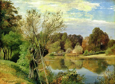 Net Painting - At The Aumuhle by Adolph Friedrich Vollmer