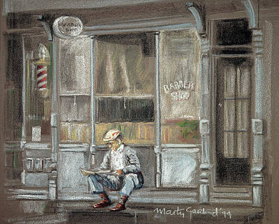 Pastel - At The Barber Shop by Marty Garland