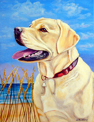 Dog Painting - At The Beach - Labrador Retriever by Lyn Cook