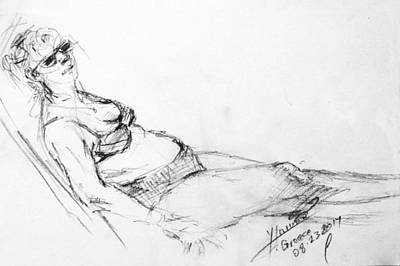 Nude Drawing - At The Beach by Ylli Haruni