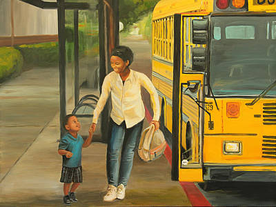 School Bus Painting - At The Bus Stop by Emily Olson