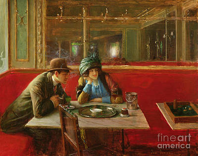 Backgammon Painting - At The Cafe by Jean Beraud