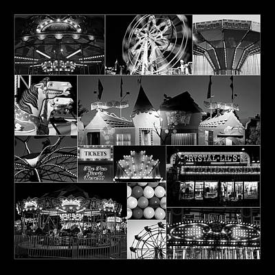 Photograph - At The Carnival Bw Black Background by Mary Bedy
