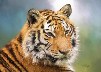 Nature Center Painting - At The Center - Tiger Art by Jordan Blackstone