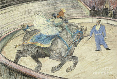 Horseback Pastel - At The Circus  Work In The Ring by Henri de Toulouse-Lautrec