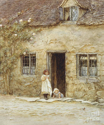 Architectural Artist Painting - At The Cottage Door by Helen Allingham