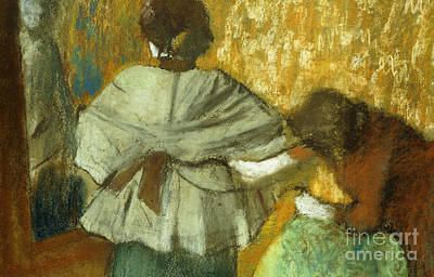 Pastel - At The Couturier, The Fitting by Edgar Degas