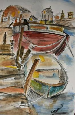 Painting - At The Dock  by Susan Snow Voidets