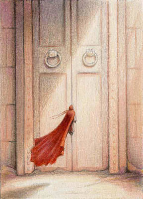 Dreamscape Drawing - At The Door by Amy S Turner