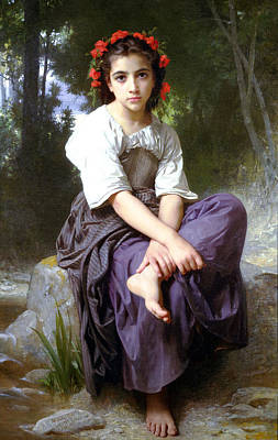 Painting - At The Edge Of The Brook 1875 by William Bouguereau Presented by Joy of Life Art