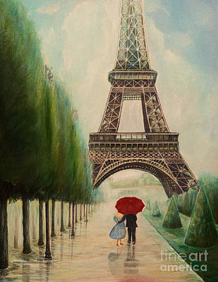 Under The Red Wall Painting - At The Eiffel Tower by Zina Stromberg