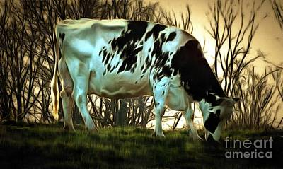 Painting - At The End Of The Day - Black And White Cow by Janine Riley