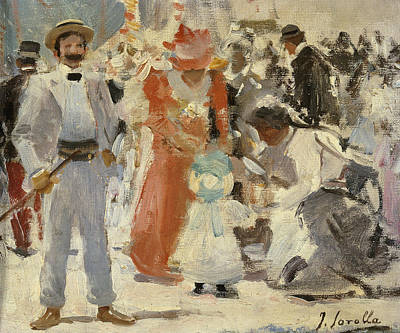Children Action Painting - At The Fair by Joaquin Sorolla y Bastida