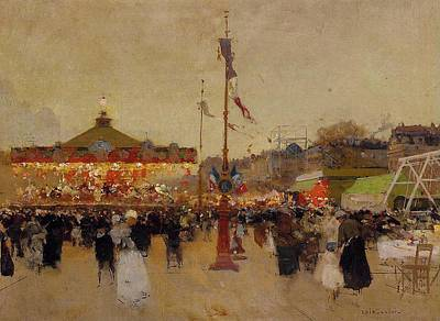 Oil Lamp Painting - At The Fair  by Luigi Loir