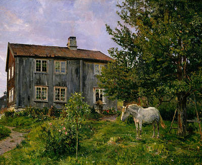 Painting - At The Farm, Ulvin by Gerhard Munthe