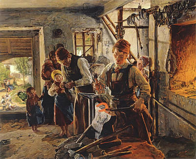 Oven Painting - At The Farrier by Ferdinand Georg Waldmuller