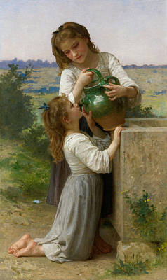 Painting - At The Fountain by William-Adolphe Bouguereau