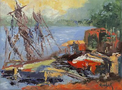 Painting - At The Harbor by Barbara Andolsek