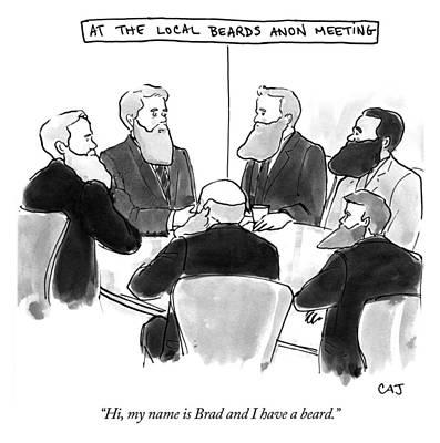 Drawing - At The Local Beards Anon Meeting by Carolita Johnson