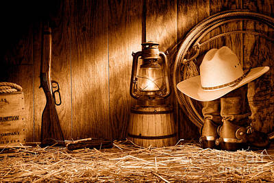 Old Western Photograph - At The Old Ranch - Sepia by Olivier Le Queinec
