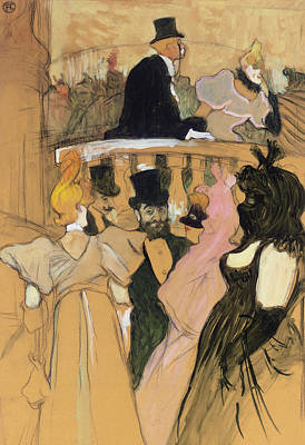 Evening Dress Drawing - At The Opera Ball by Henri de Toulouse-Lautrec