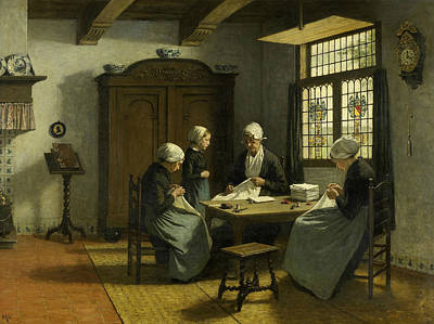 At The Orphanage In Katwijk-inside Art Print by Adolph Artz