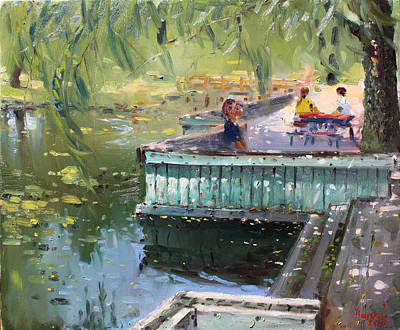 Deck Painting - At The Park By The Water by Ylli Haruni