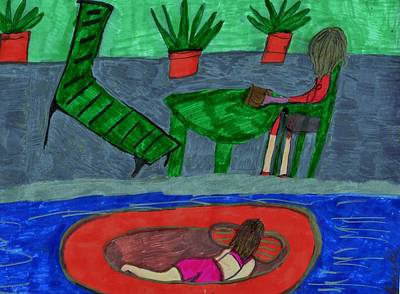 Floating Girl Mixed Media - At The Pool Side by Elinor Helen  Rakowski