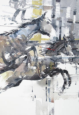Horserace Painting - At The Races 17 by Tony Belobrajdic