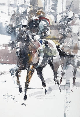 Horserace Painting - At The Races 18 by Tony Belobrajdic