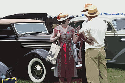 Hoodie Mixed Media - At The Races, 1937 Style by Yvonne Wright