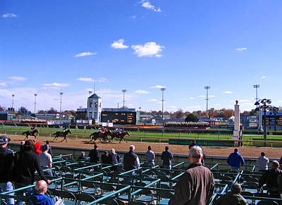 Racetrack Digital Art - At The Races At Churchill Downs by Marian Bell