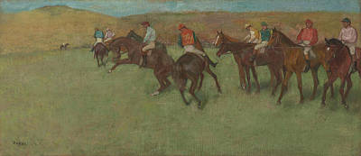 At The Races Before The Start 1875 - 1885 Art Print by Edgar Degas