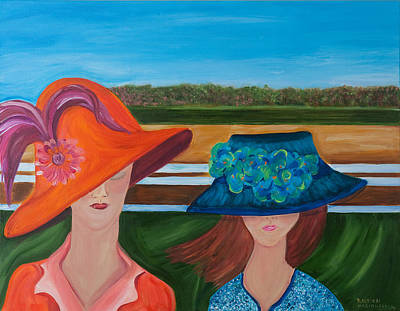 Hats Painting - At The Races by Dani Altieri Marinucci