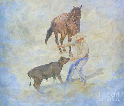 Digital Art - At The Rodeo Calf Roping by Randy Steele