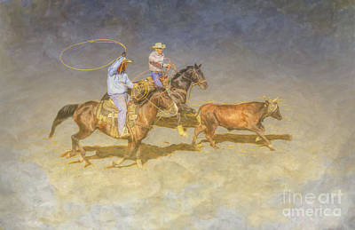 Digital Art - At The Rodeo Team Calf Roping by Randy Steele