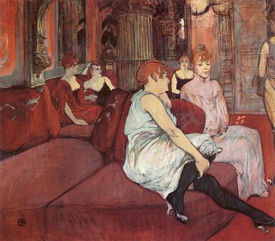 Club Scene Painting - At The Salon Of The Rue Des Moulins by Henri de Toulouse-Lautrec