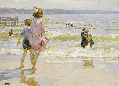 People On The Beach Painting - At The Seashore by Edward Henry Potthast
