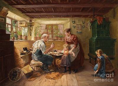 Shoemaker Painting - At The Shoemaker's by Celestial Images
