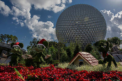 Poinsettia Photograph - At The Spaceship Earth by Zina Stromberg