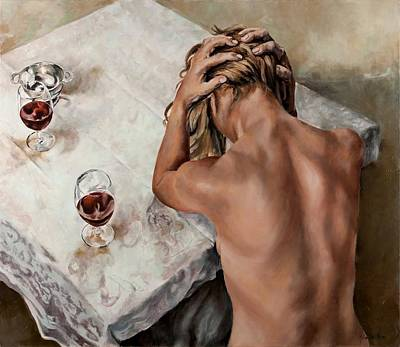 Table Cloth Painting - At The Table by Jolante Hesse