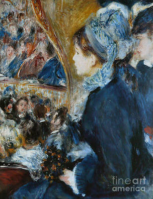 Stalls Painting - At The Theater by Pierre Auguste Renoir