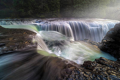 Scenic Photograph - At The Top Of Lower Lewis River Falls by David Gn
